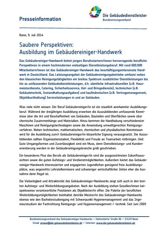 Saubere Perspektiven:<br />Ausbildung im Gebäudereiniger-Handwerk