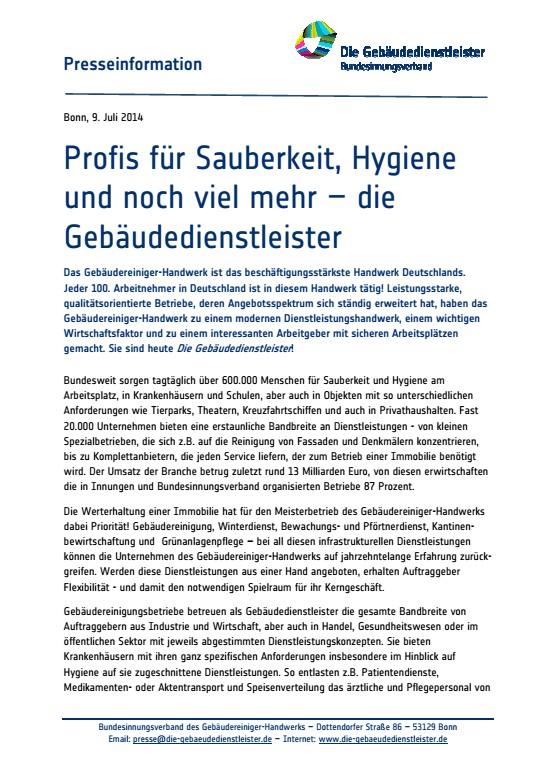Profis für Sauberkeit, Hygiene und noch viel mehr<br />Das Tätigkeitsspektrum der Gebäudedienstleister