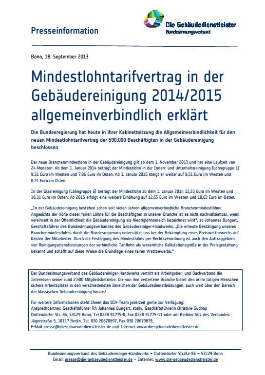 Mindestlohntarifvertrag in der Gebäudereinigung 2014/2015<br />allgemeinverbindlich erklärt