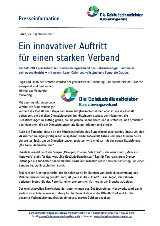 Ein innovativer Auftritt für einen starken Verband<br />Neues Corporate Design der Bundes- und Landesinnungen